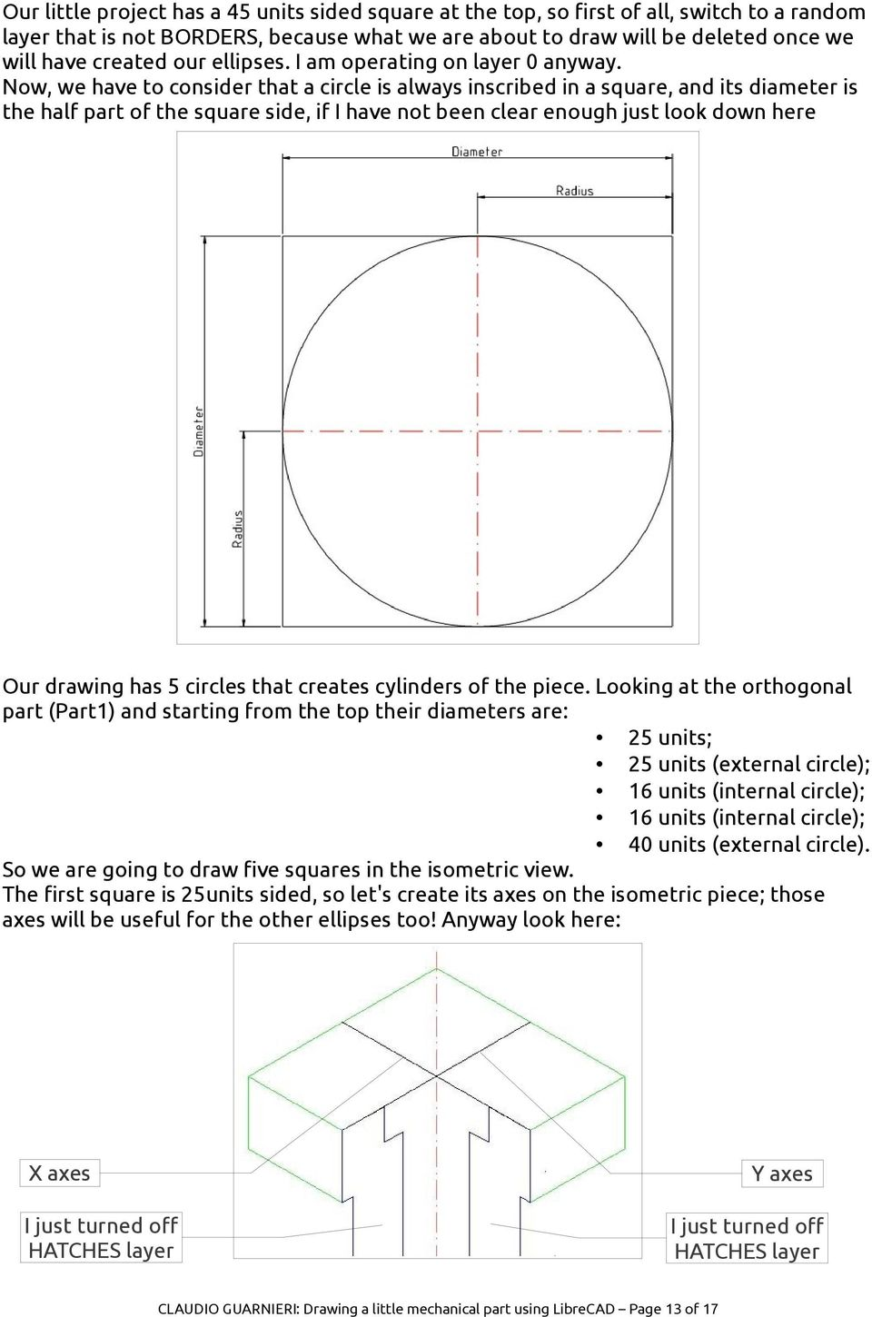 Drawing a little mechanical part using LibreCAD - PDF