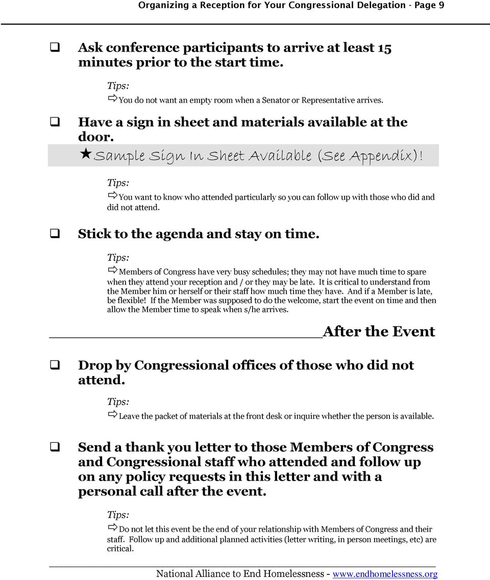 Organizing a Reception for Your Congressional Delegation  Toolkit - PDF