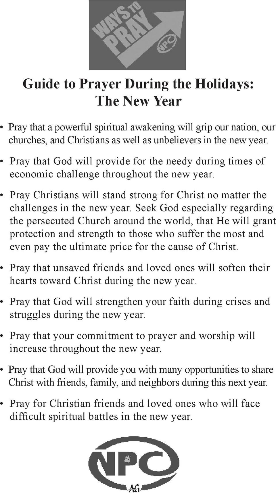 Prayer Guides for the Holidays: Thanksgiving, Christmas, and the New ...