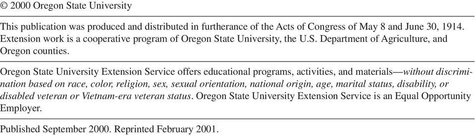 Oregon State University Extension Service offers educational programs, activities, and materials without discrimination based on race, color, religion, sex, sexual