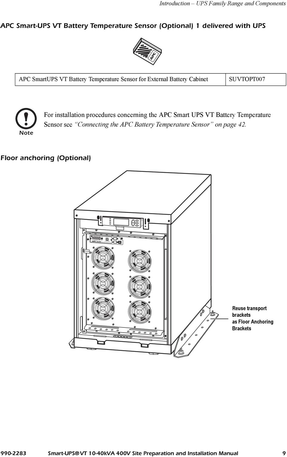 Smart Ups Vt Kva 400v Site Preparation And Installation Manual Pdf Apc 1500 Battery Wiring Diagram Procedures Concerning The Temperature Sensor See Connecting