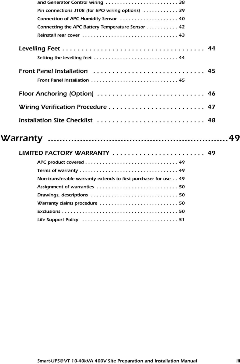 Smart Ups Vt Kva 400v Site Preparation And Installation Manual Pdf Apc 1500 Battery Wiring Diagram 8
