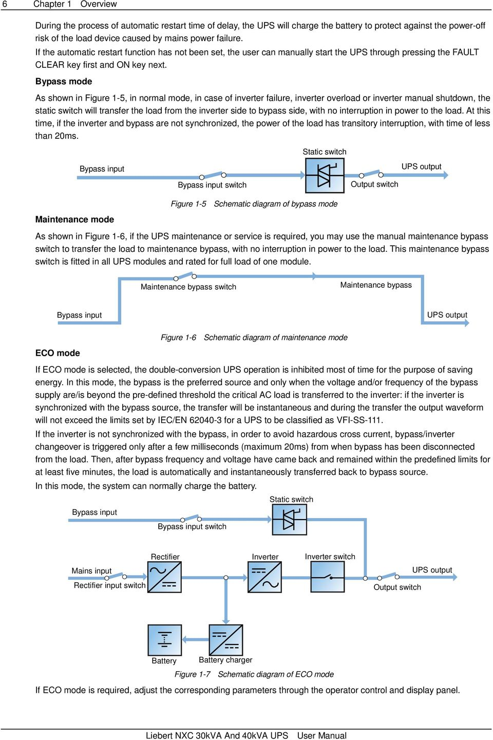 Liebert Nxc 30kva And 40kva Ups User Manual Pdf Bypass Switch Wiring Diagram Mode As Shown In Figure 1 5 Normal Case