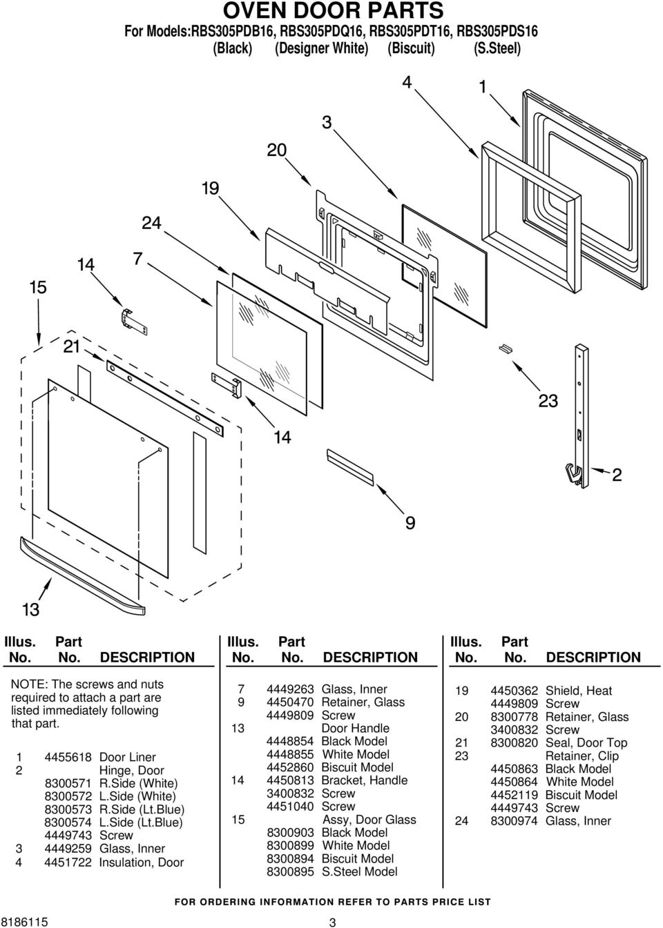Oven Parts For Modelsrbs305pdb16 Rbs305pdq16 Rbs305pdt16 Door Shroud Latch Assembly Diagram And List Maytag Blue 4449743 Screw 3 4449259 Glass Inner 4 4451722 Insulation 7 4449263