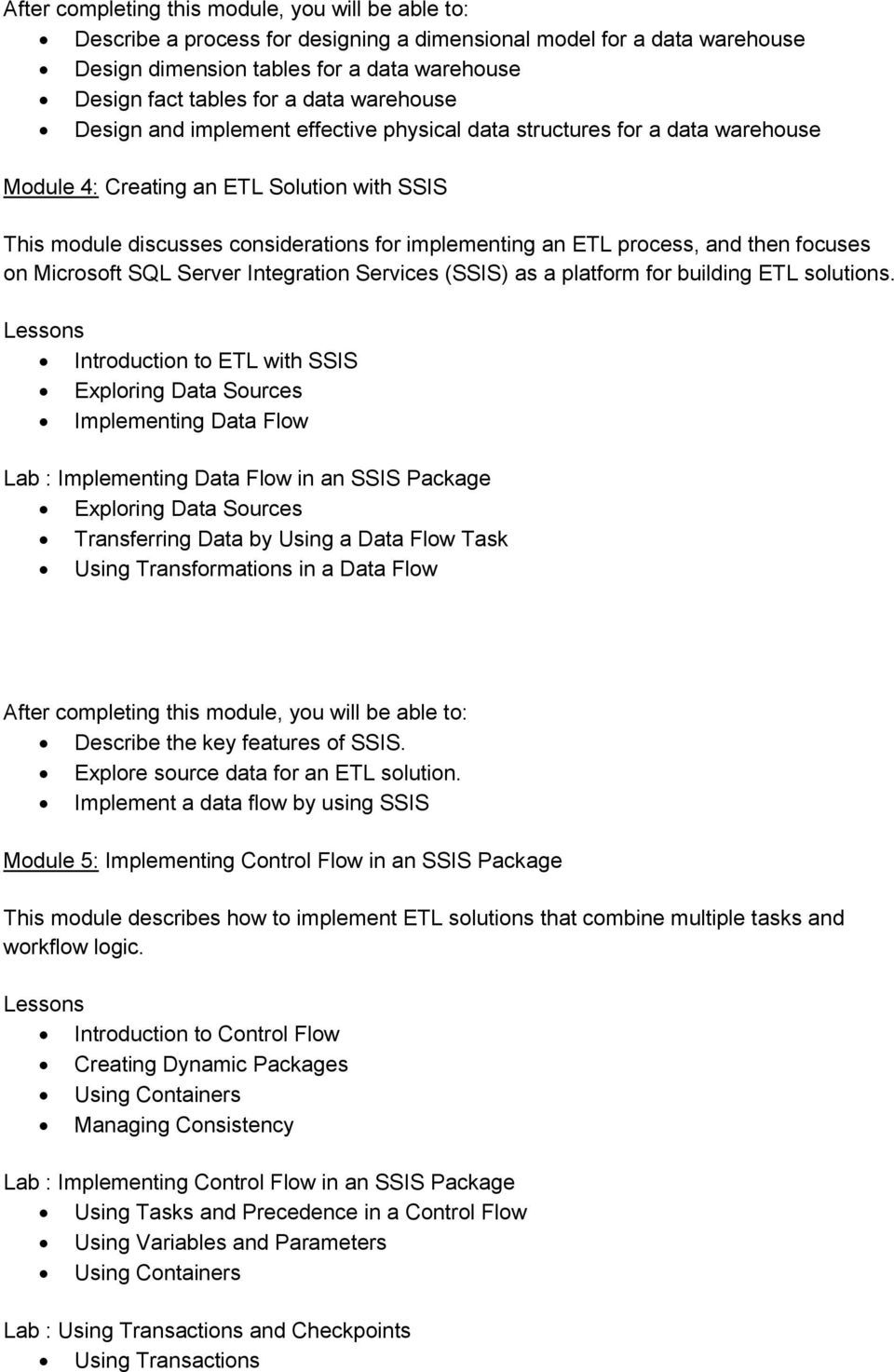 Course 20463:Implementing a Data Warehouse with Microsoft SQL Server