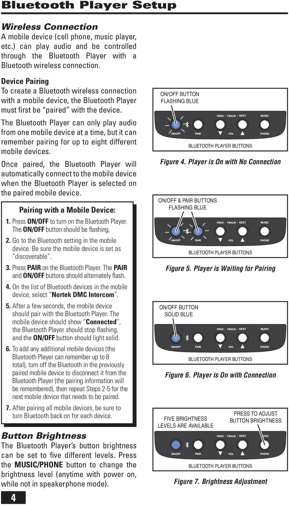 Intercom and Music System Bluetooth Player Operation & User s Guide