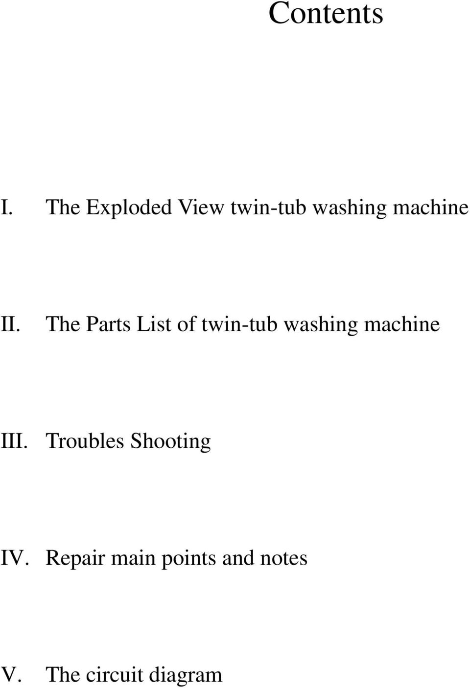 the parts list of twin-tub washing