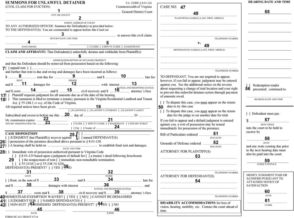 Form DC 421 SUMMONS FOR UNLAWFUL DETAINER Form DC PDF