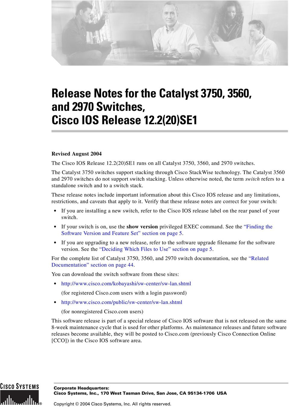 Release Notes for the Catalyst 3750, 3560, and 2970 Switches, Cisco