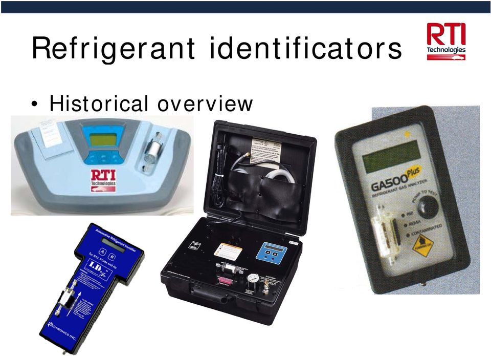 Refrigerant identification and equipment issues in relation to HCFC
