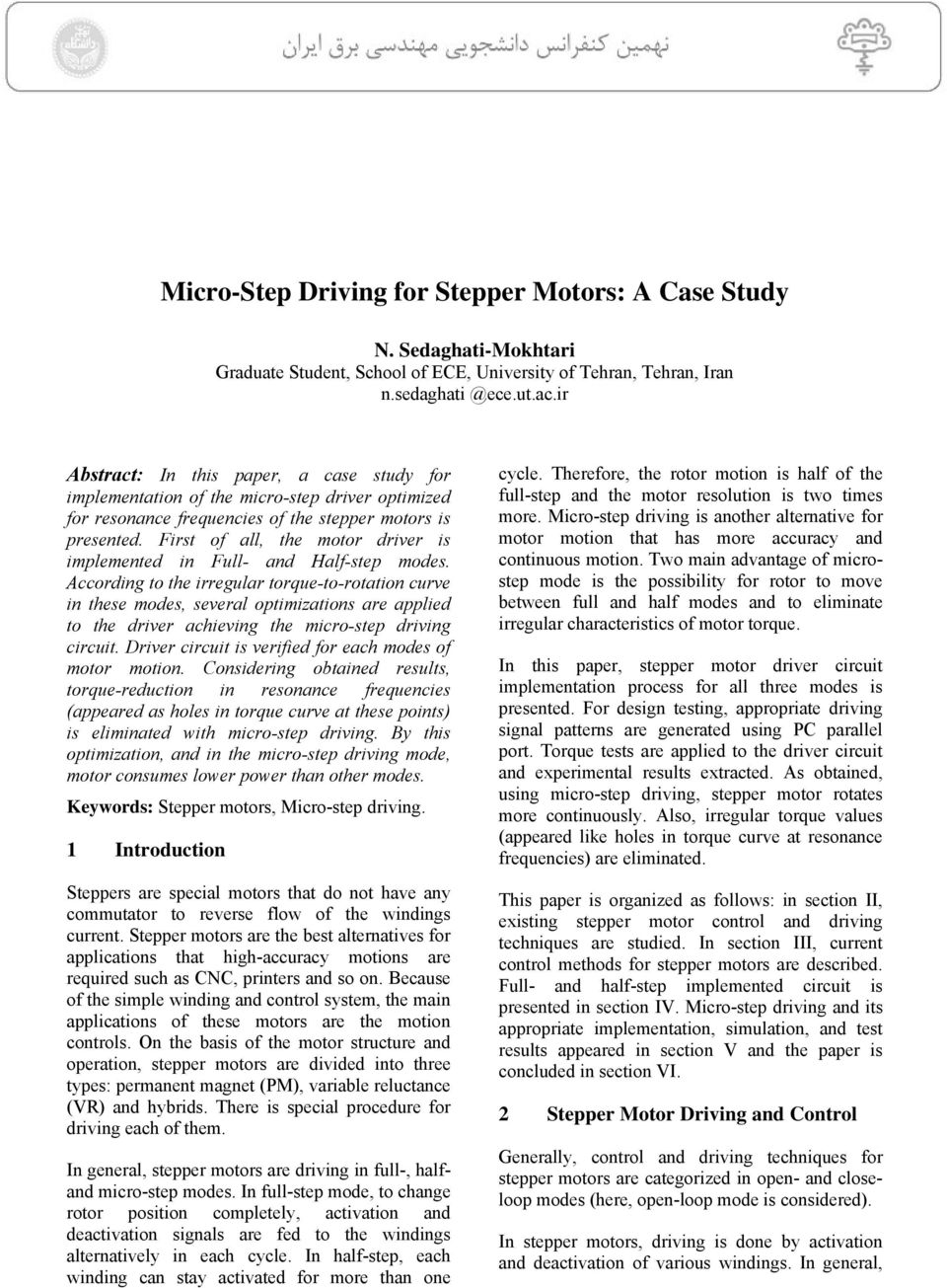 Micro Step Driving For Stepper Motors A Case Study Pdf Motor Driver Circuit Drive First Of All The Is Implemented In Full And Half