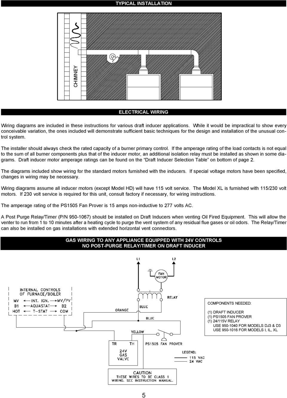 Auto Draft Inducer Installation Instructions Models D 3 Xl Pdf Gas Valve Relay Wiring Diagram The Installer Should Always Check Rated Capacity Of A Burner Primary Control 7