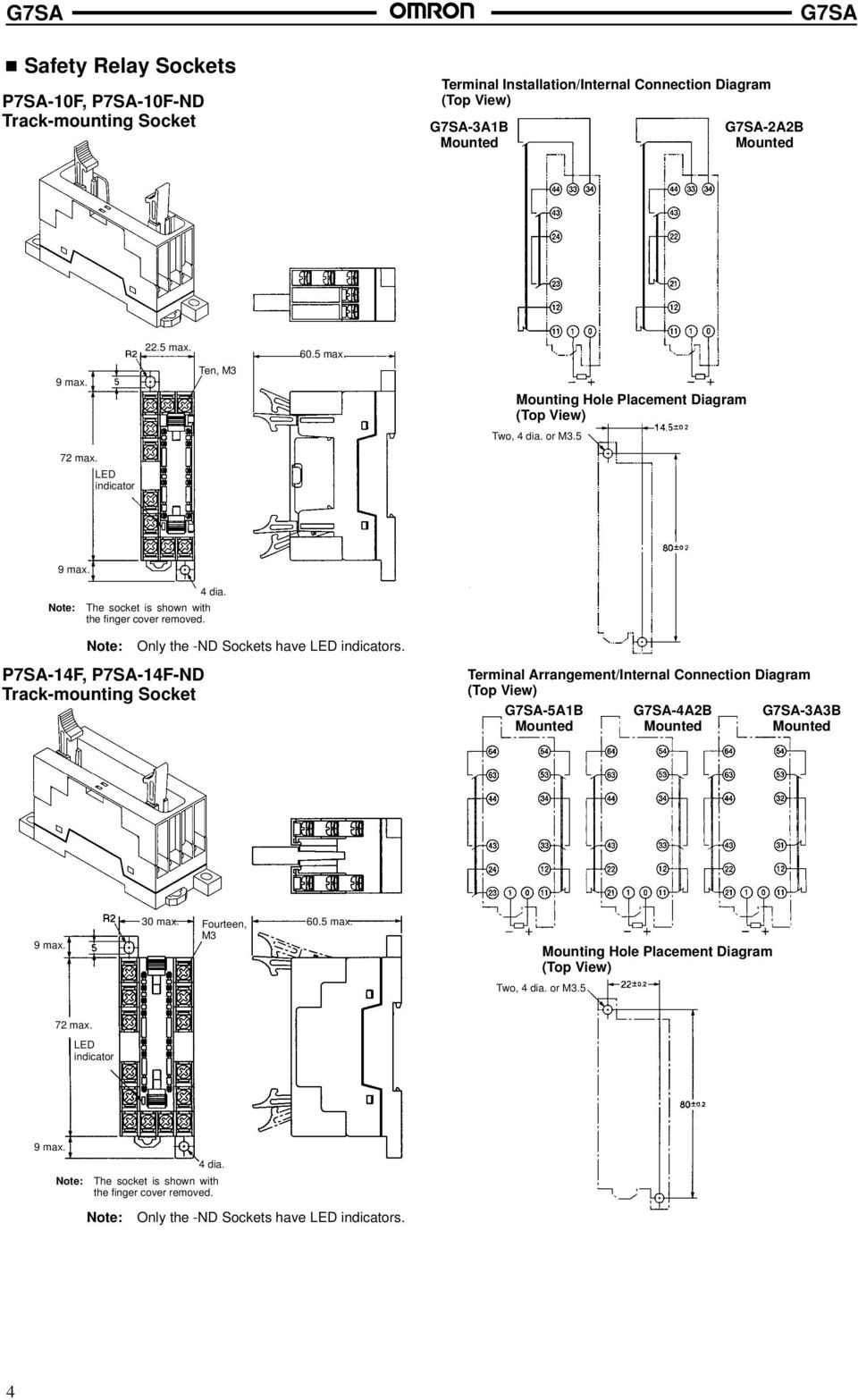 Terminal Arrangement/Internal Connection Diagram (Top View) -5A1B -4A2B -3A3B 9 max. 30 max. Fourteen, 60.5 max. M3 Mounting Hole Placement Diagram (Top View) Two, 4 dia. or M3.5 72 max.