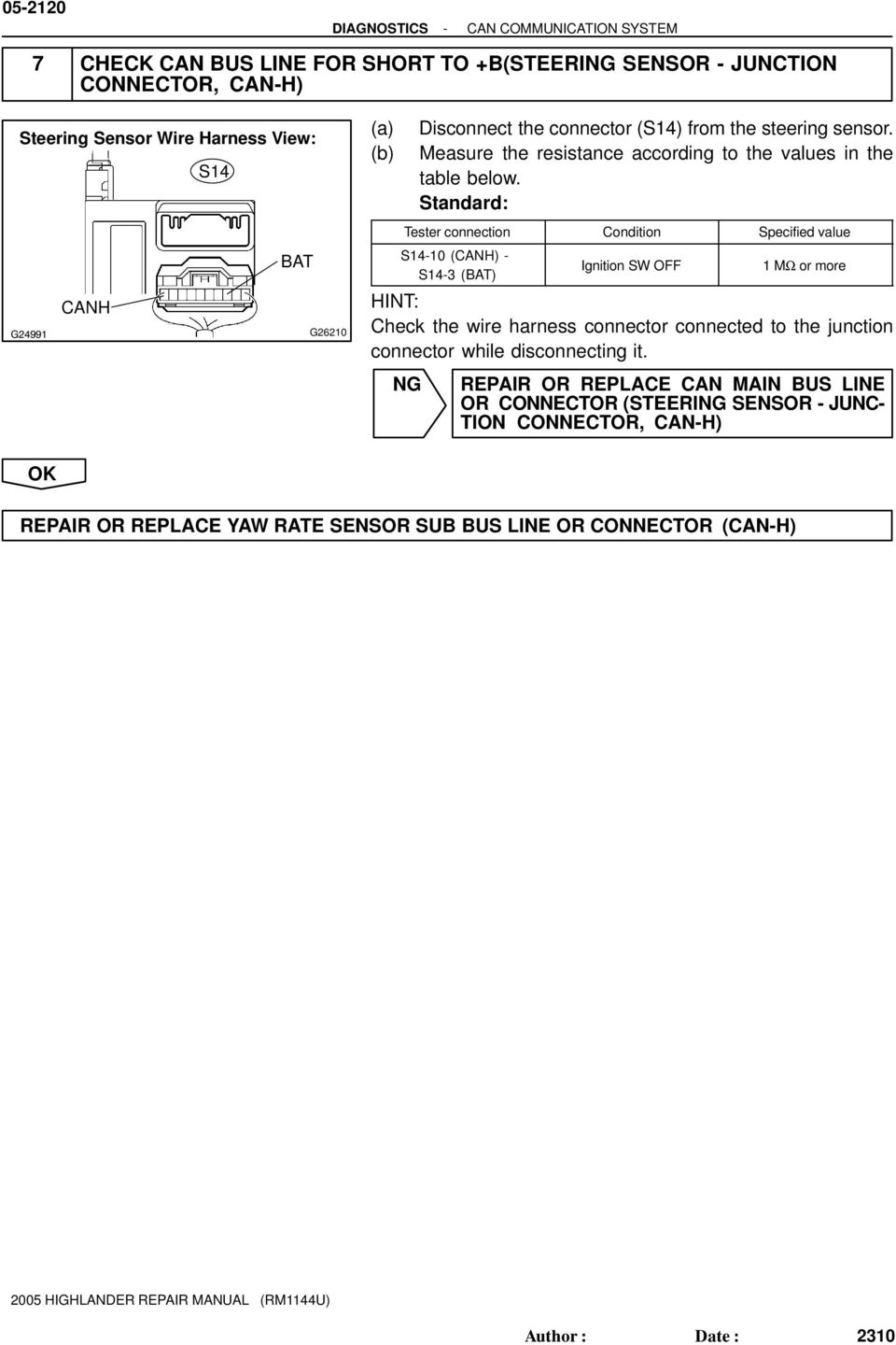 Check Can Bus Line H For Short To B Pdf Wire Harness Measure The Resistance According Values In S4 Ignition