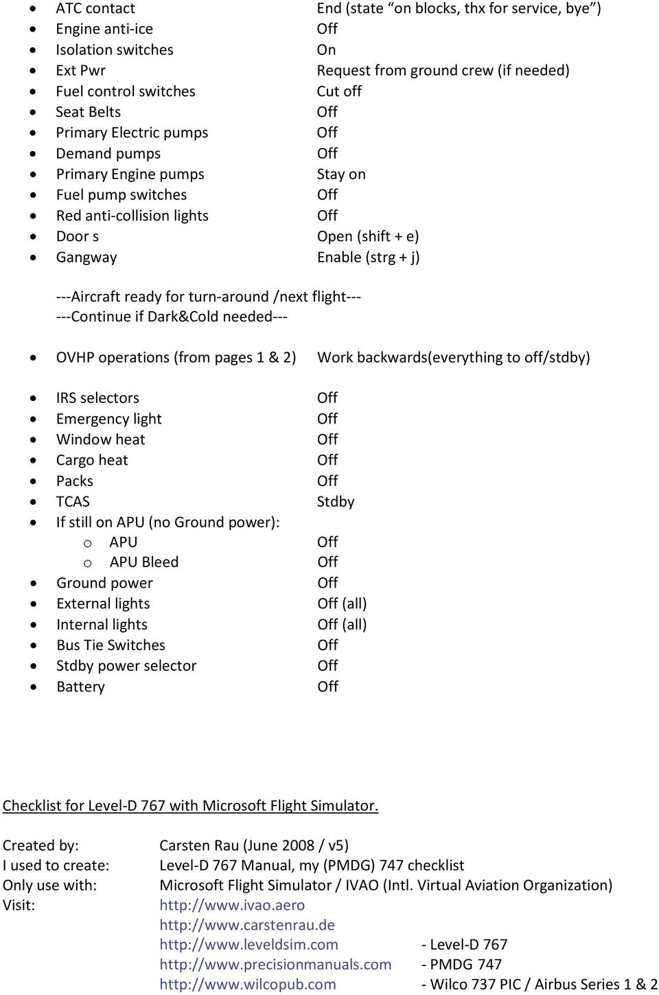 Checklist MS FSX incl  Level-D ER - PDF