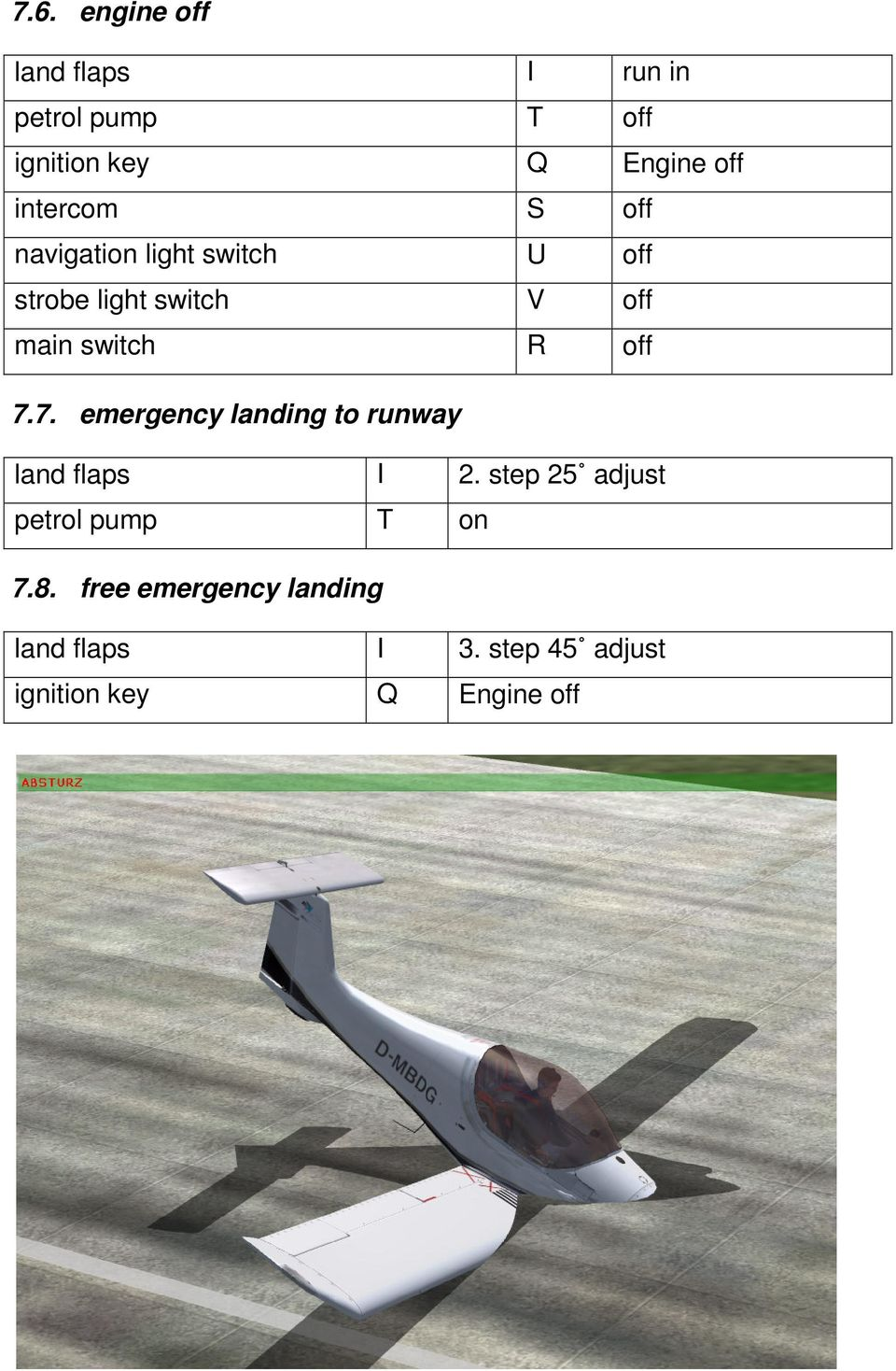 R off 7.7. emergency landing to runway land flaps I 2.