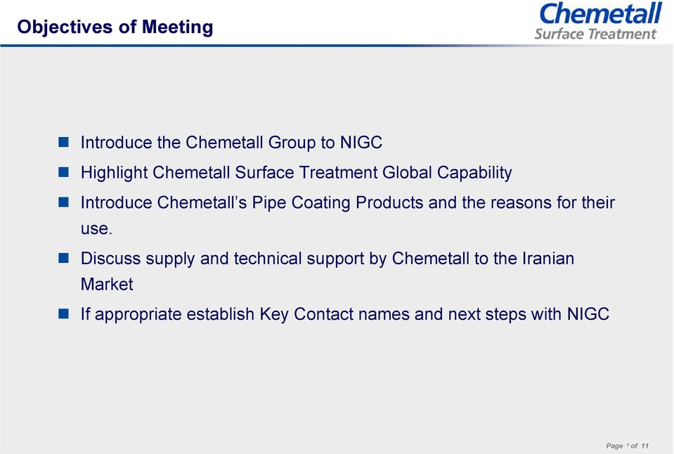 An Introduction to Chemetall PLC Meeting with National