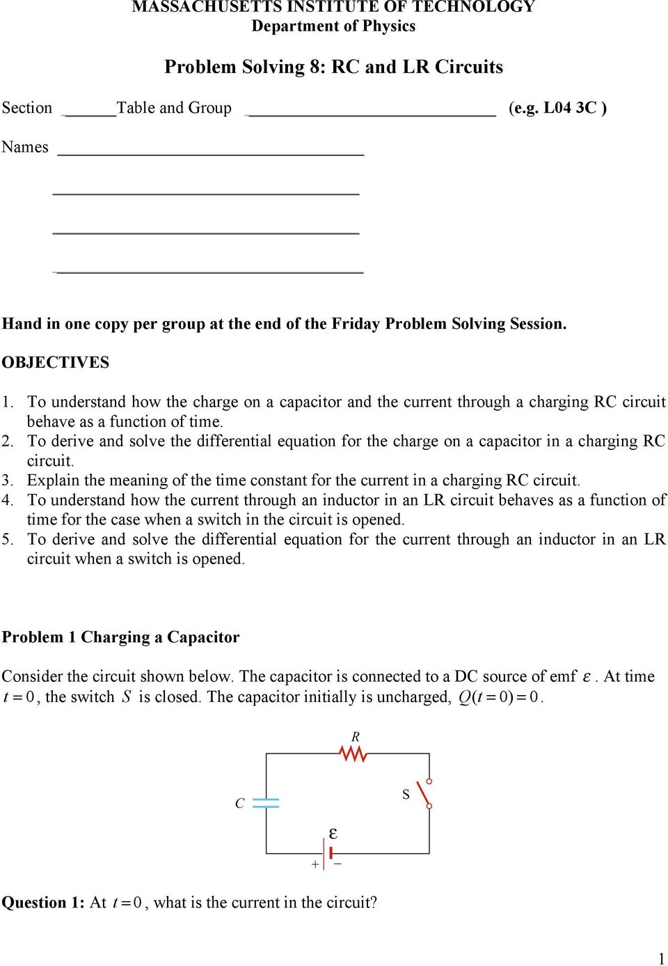 Problem Solving 8 Rc And Lr Circuits Pdf Some Parallel Have Switches In As The Circuit Shown To Derive Solve Differential Equation For Charge On A Capacitor Charging