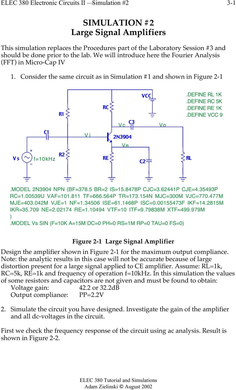 Tutorial And Simulations For Micro Cap Iv Pdf Lm741 Simple Dc Amplifier Can Be Added To Afc Circuit Of Fm Tuner Define Re 1kdefine Vcc 9 Ve Vs F10khz R2 C2 Rl