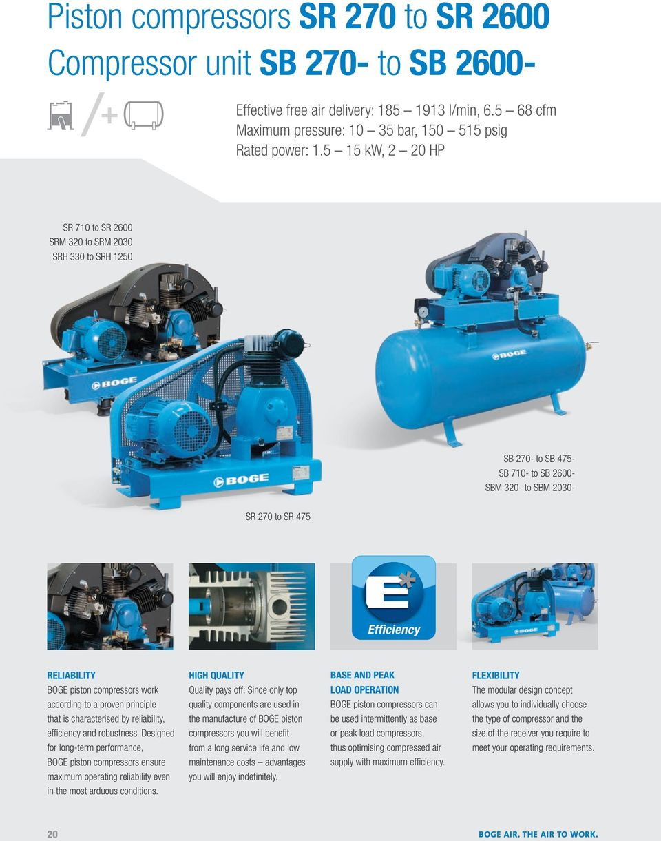 BOGE AIR  THE AIR TO WORK  PISTON COMPRESSORS - PDF