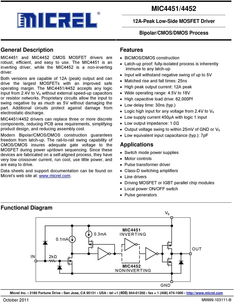 Mic4451 4452 General Description Features Applications Double Diffused Mos Dmos Both Versions Are Capable Of 12a Peak Output And Can Drive The Largest Mosfets