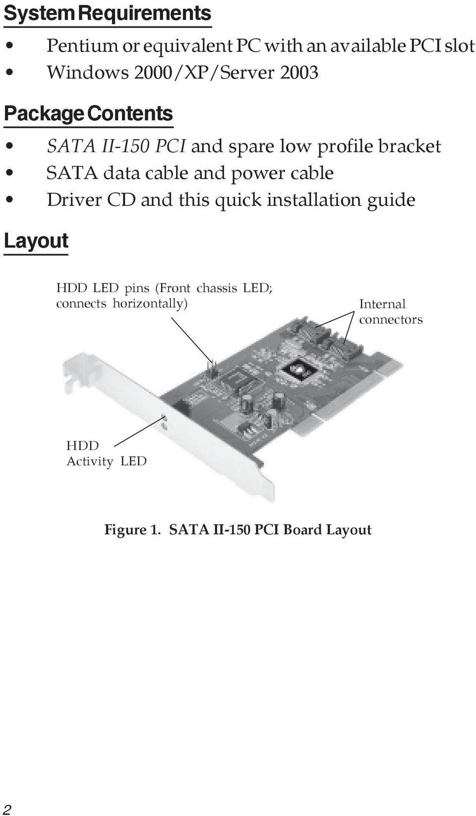 cable Driver CD and this quick installation guide Layout HDD LED pins (Front chassis LED;