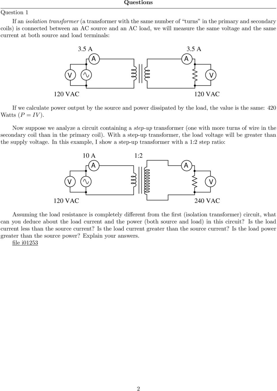 Transformer Circuit Calculations Pdf Resistance Voltage Conversion Basiccircuit 5 A V 120 Vac If We Calculate Power Output By The Source And