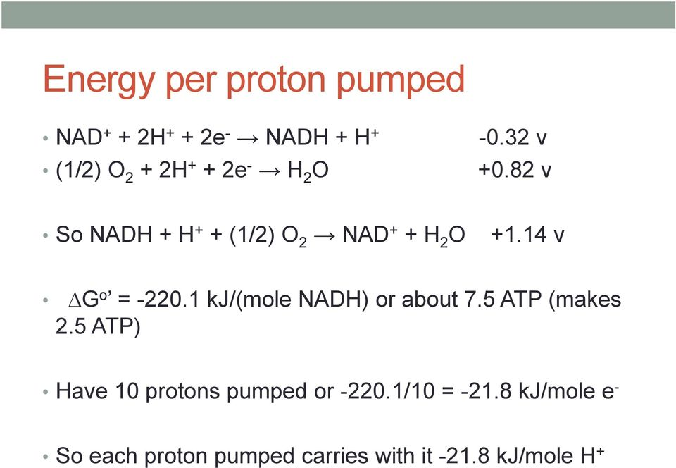 1 kj/(mole NADH) or about 7.5 ATP (makes 2.5 ATP) Have 10 protons pumped or -220.