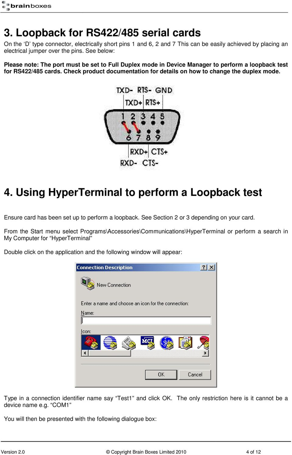 Instructions on How to Use HyperTerminal to Test Serial
