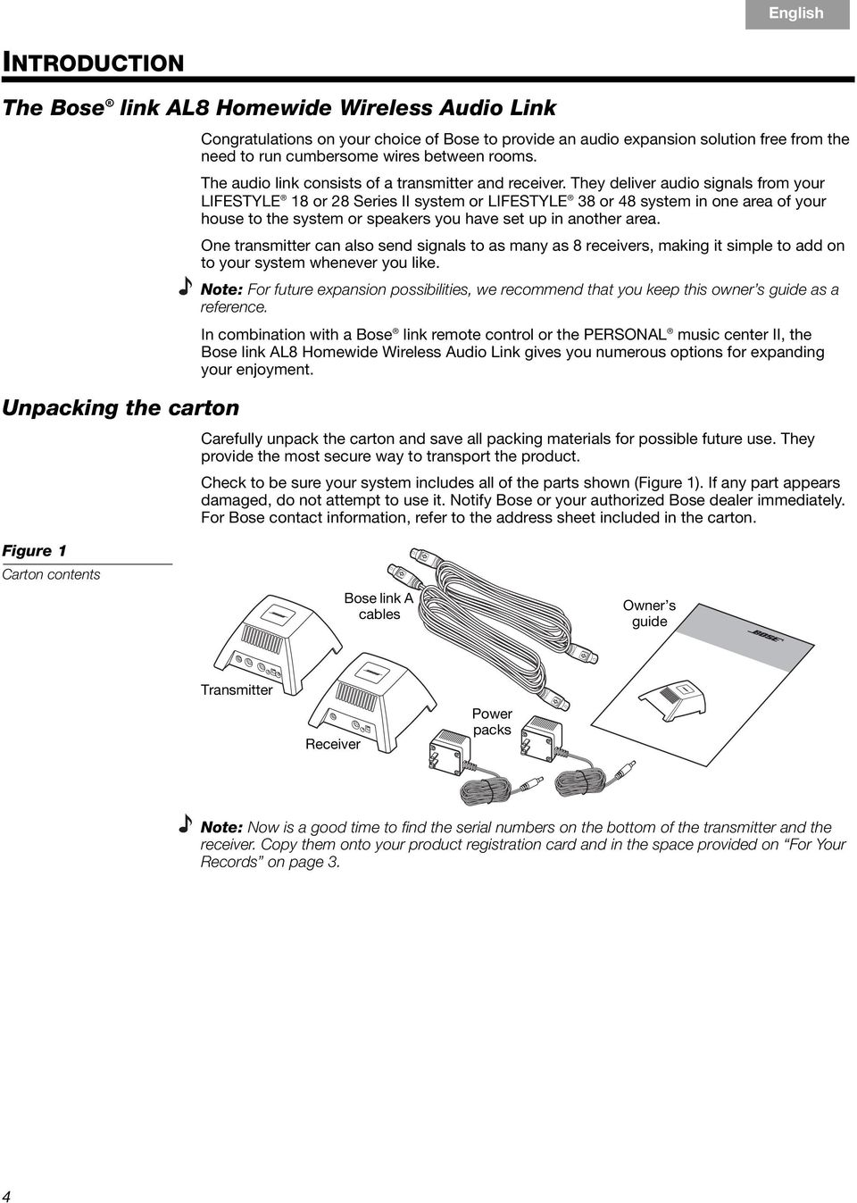 Bose Link Al8 Homewide Wireless Audio Pdf Lifestyle 235 Home Theater Wiring Diagram For They Deliver Signals From Your 18 Or 28 Series Ii System 38