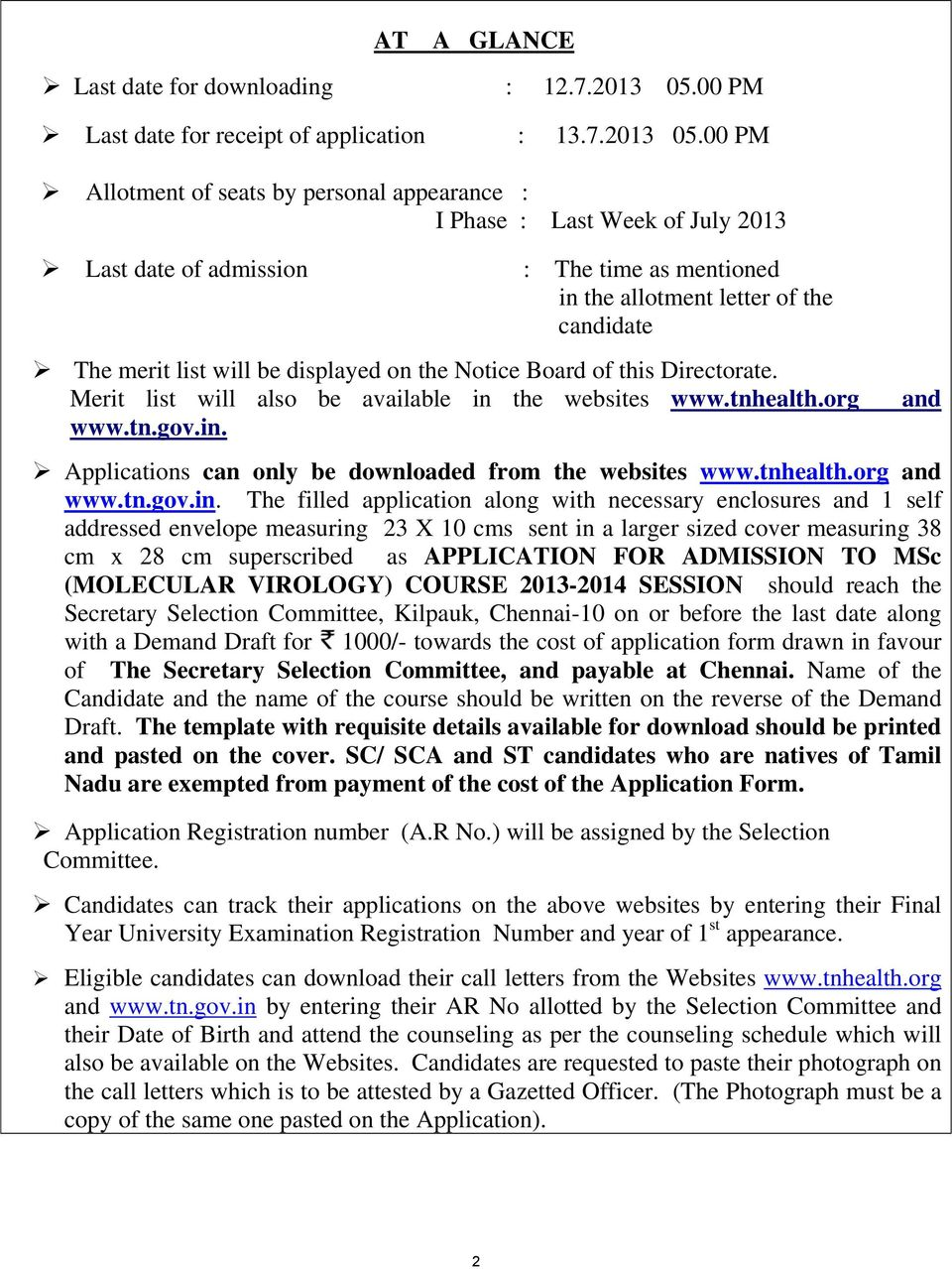 ADMISSION TO POST GRADUATE M  Sc (MOLECULAR VIROLOGY) DEGREE COURSE