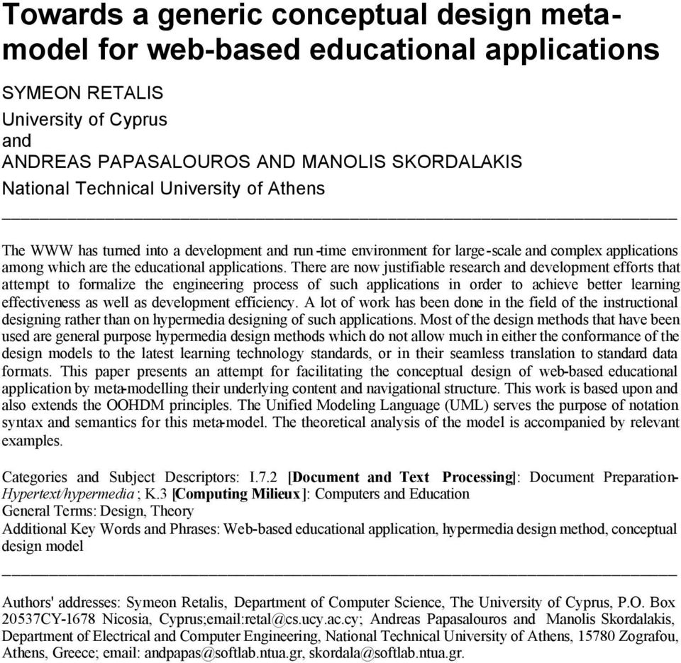 Towards A Generic Conceptual Design Metamodel For Web Based Educational Applications Pdf Free Download