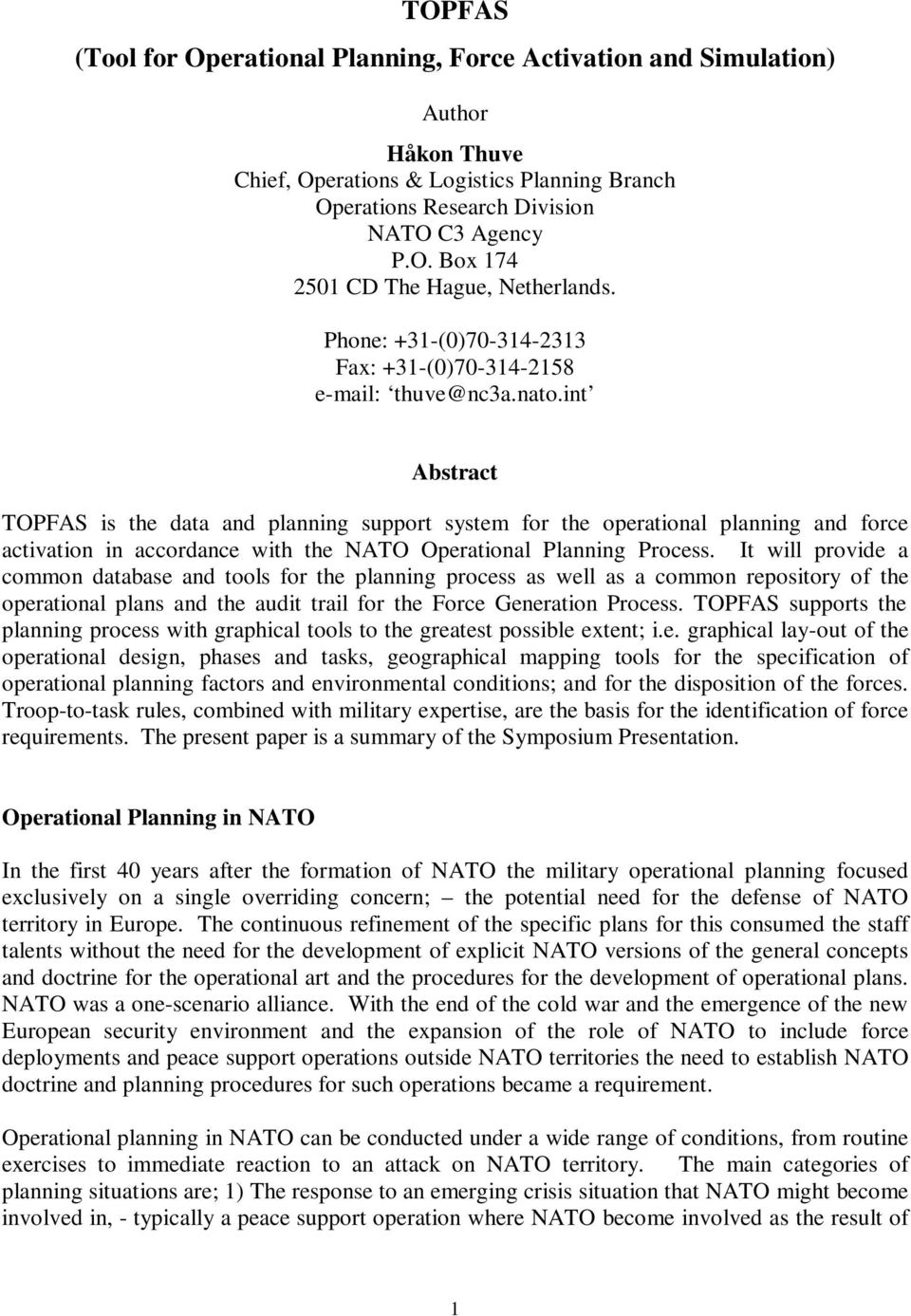 TOPFAS (Tool for Operational Planning, Force Activation and