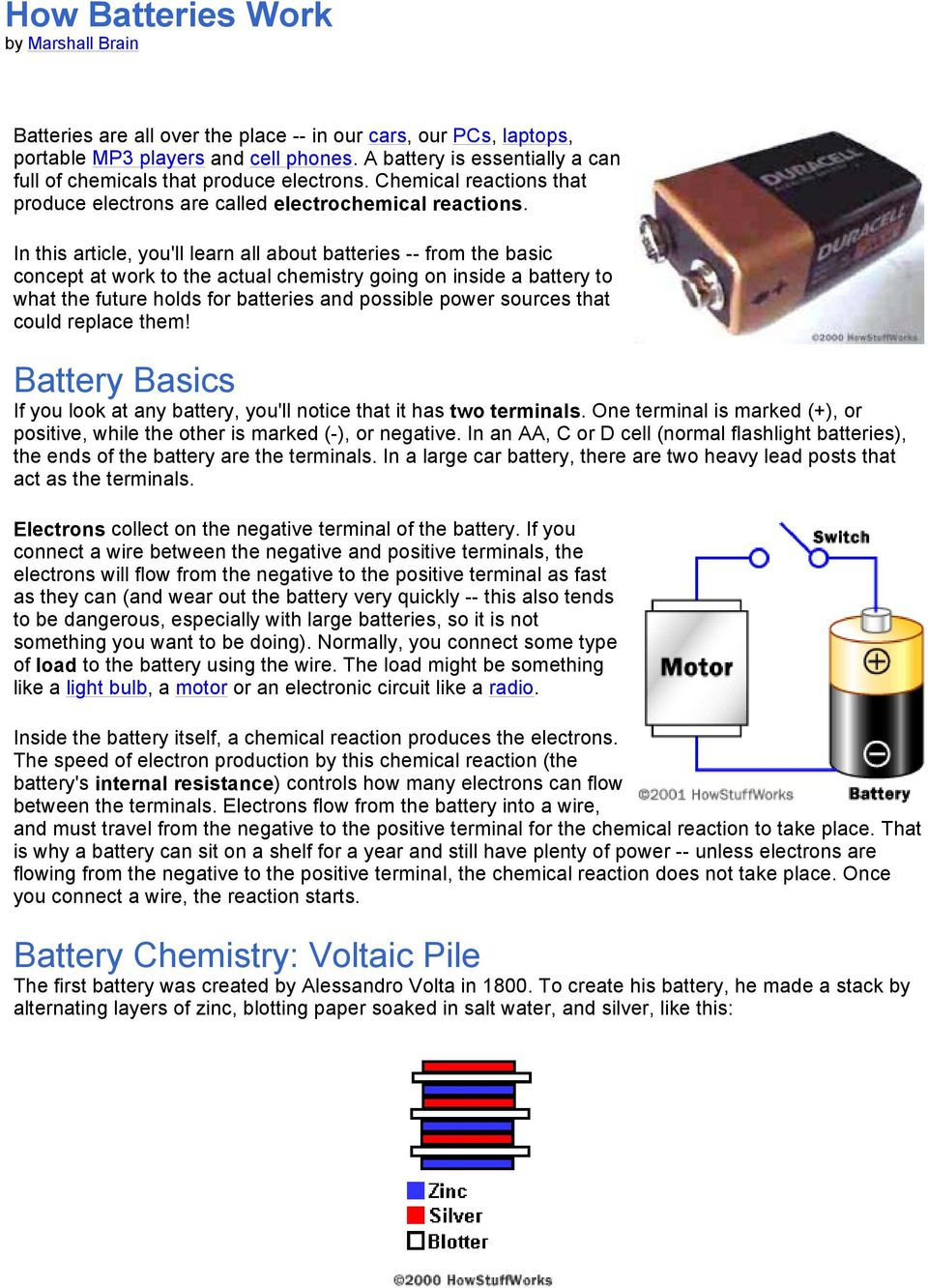 How Batteries Work By Marshall Brain Pdf Electrical Circuits Howstuffworks In This Article Youll Learn All About From The Basic