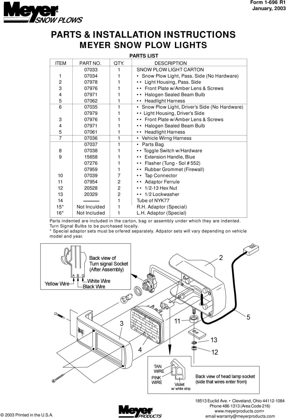 Parts Installation Instructions Meyer Snow Plow Lights Pdf 2009 R1 Wiring Diagram Front Side 3 07976 1 Plate W Amber Lens Screws 4 07971 Halogen