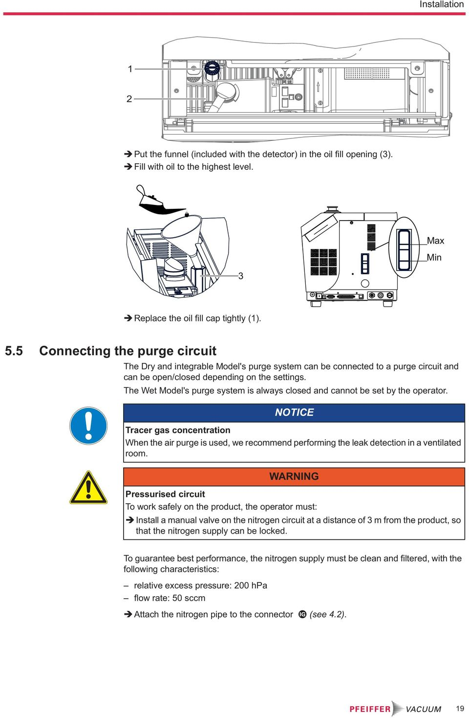 Translation Of The Original Instructions Asm 340 Leak Detector Alarm Panel Wiring Diagram Wet Models Purge System Is Always Closed And Cannot Be Set By Operator