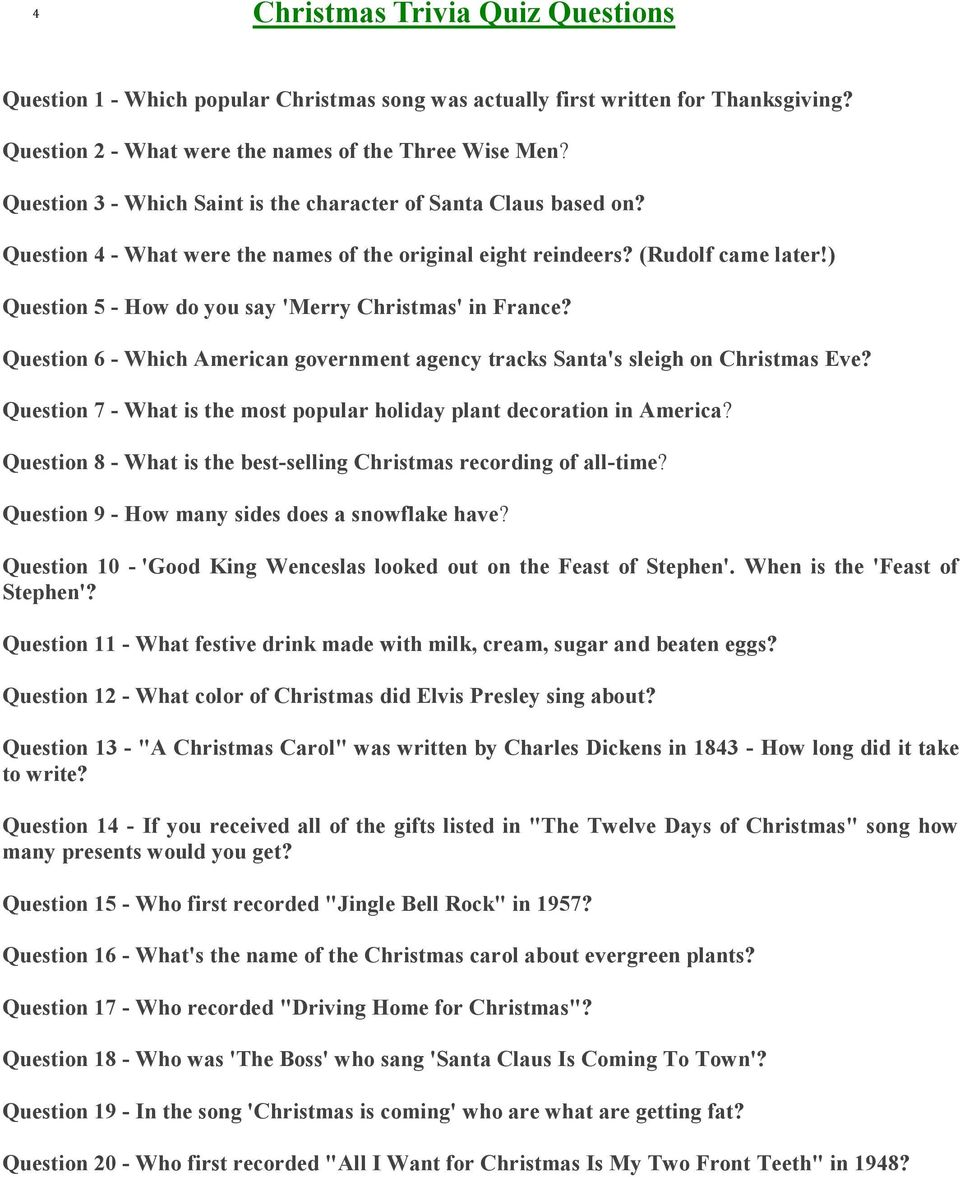120 Christmas Questions for all the