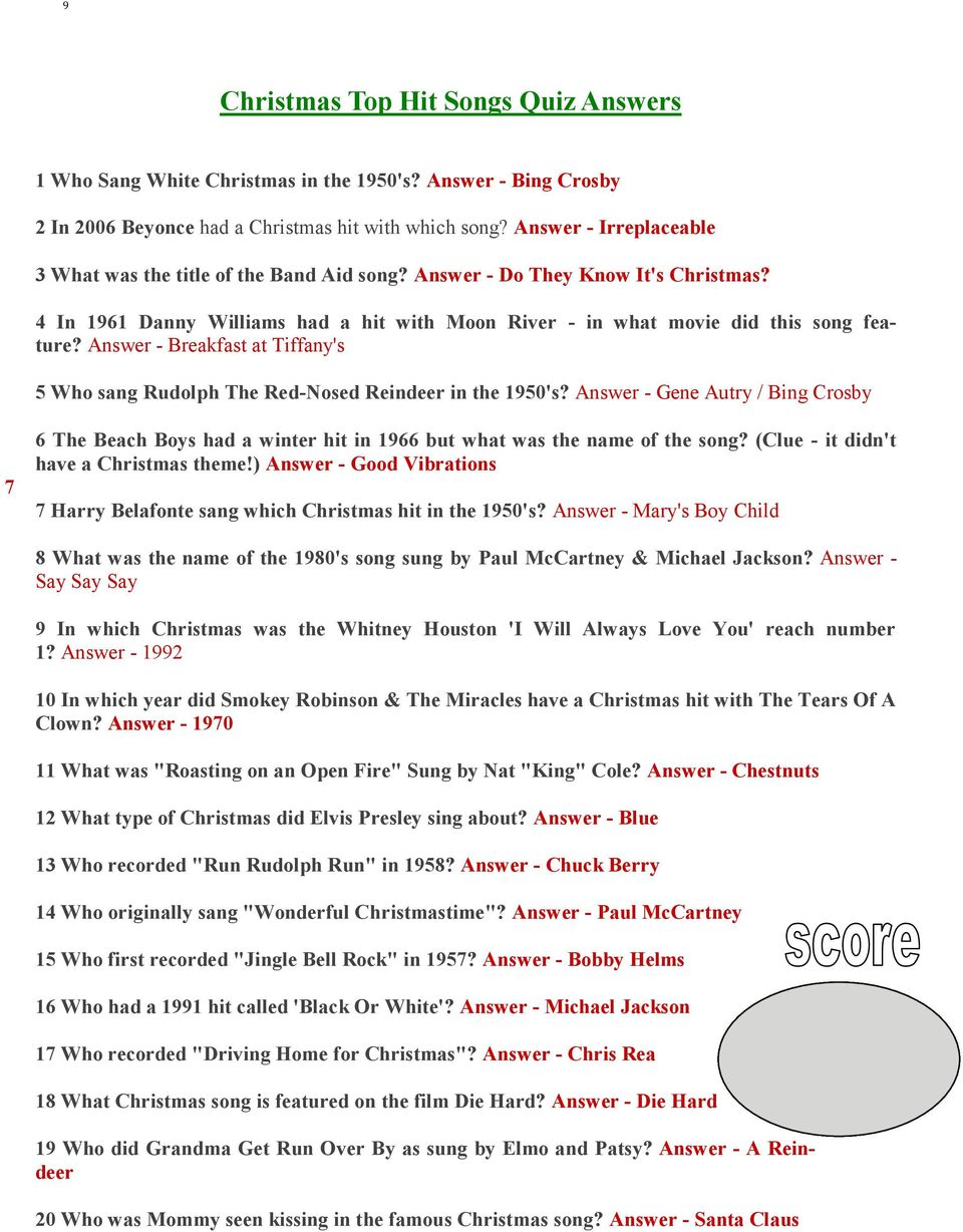 120 Christmas Questions for all the family. Answers on pages 8-13 ...
