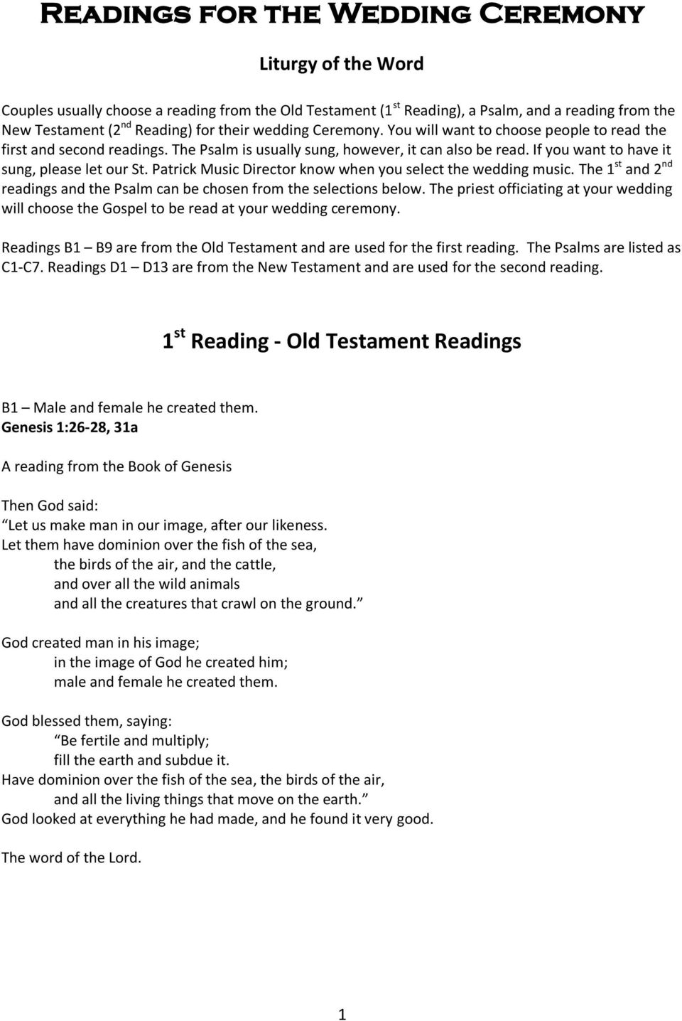Readings For The Wedding Ceremony Pdf