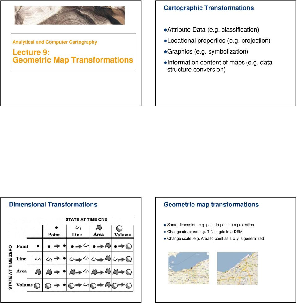 Lecture 9: Geometric map transformations  Cartographic