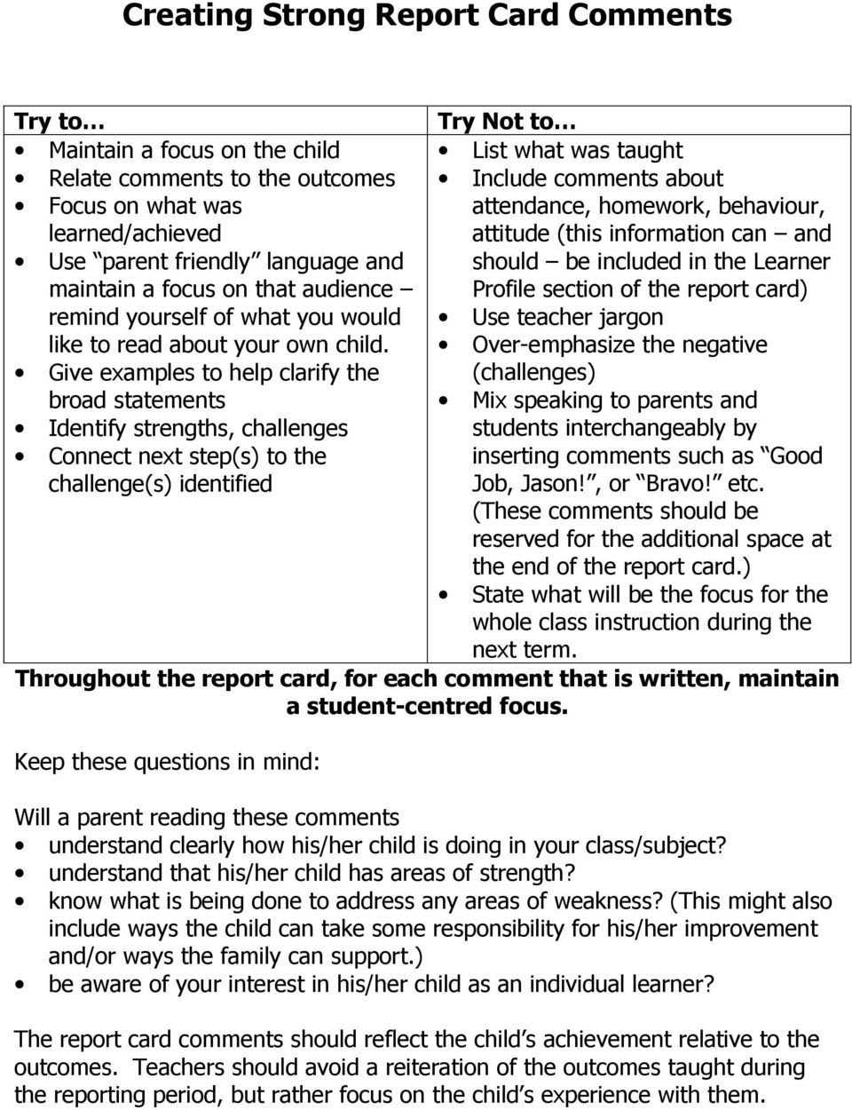 From Report Cards To Parent Teacher >> Creating Strong Report Card Comments A Handbook For Elementary