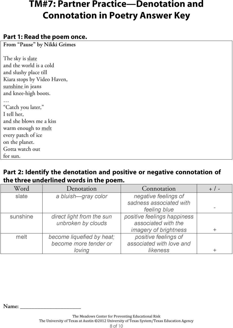 Denotation connotation and negative positive and What do