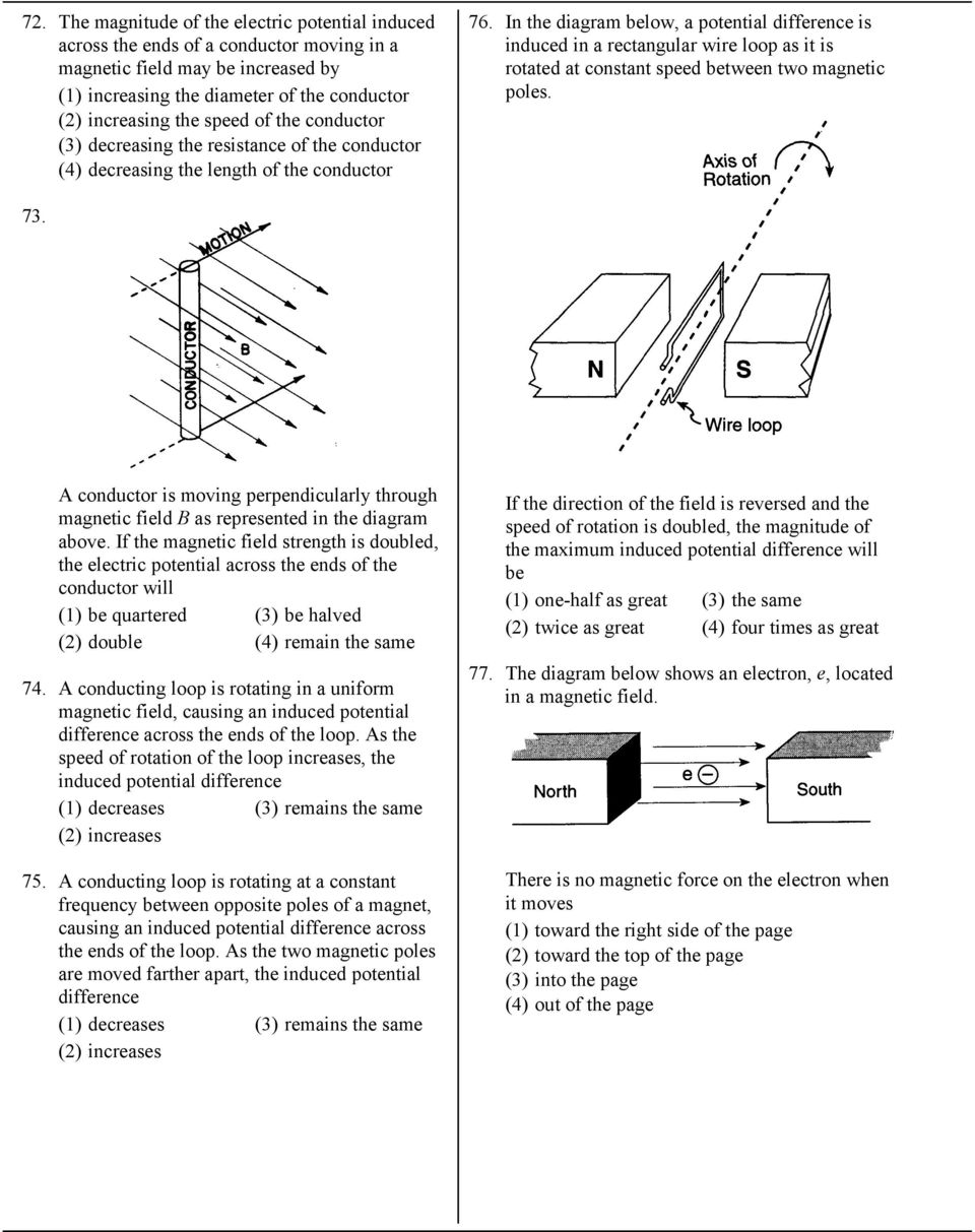 In the diagram below, a potential difference is induced in a rectangular  wire loop as