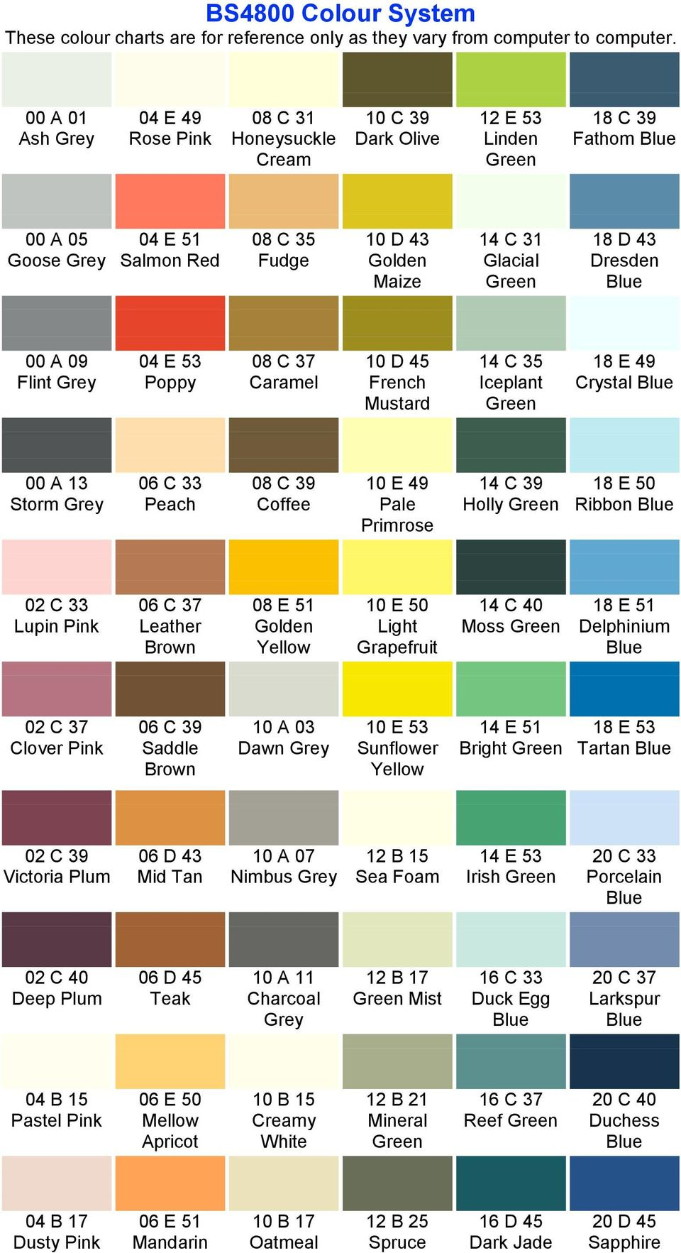 Ral Colour System These Colour Charts Are For Reference Only As They
