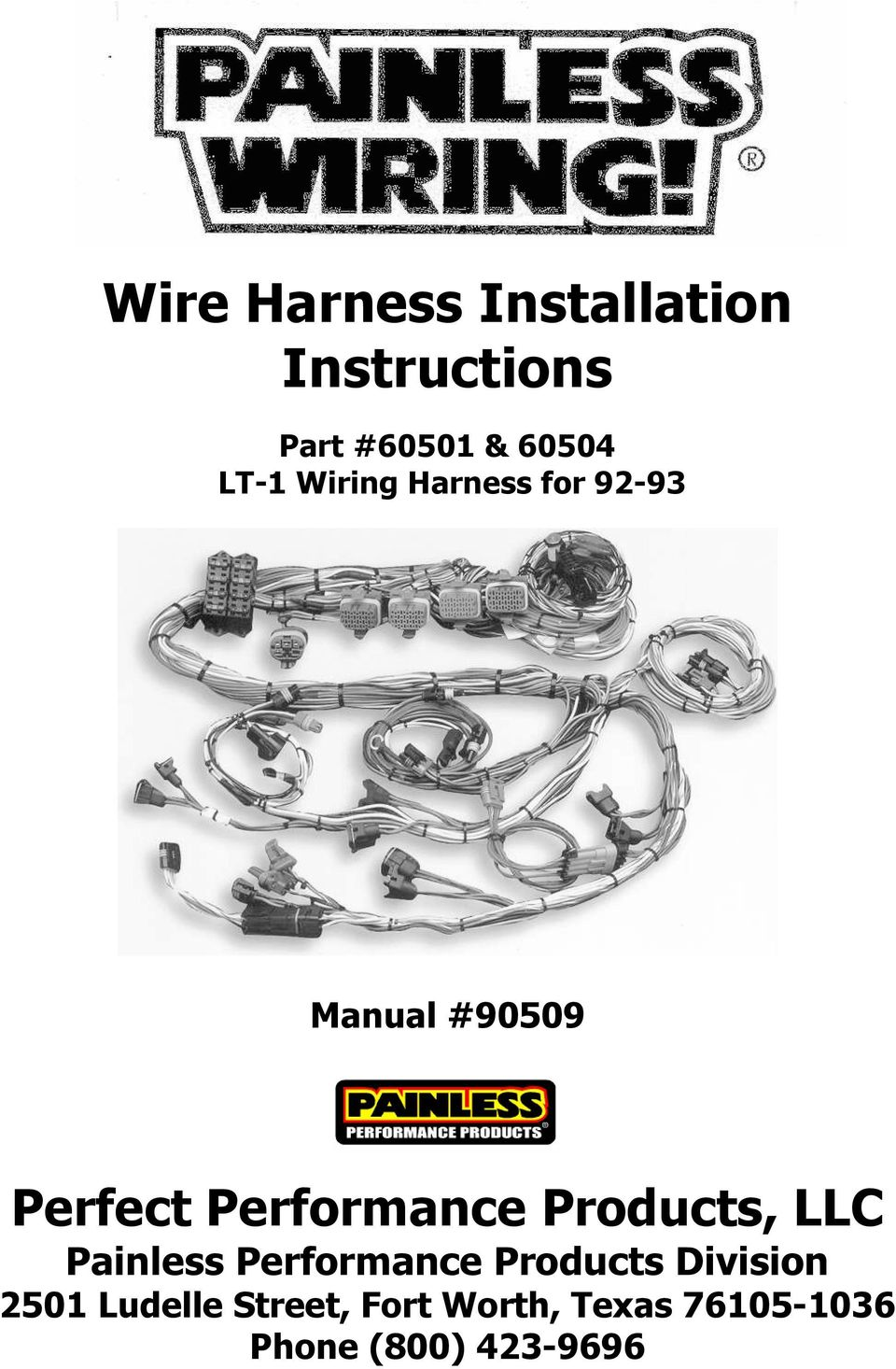 Wire Harness Installation Instructions Pdf Painless Wiring Company Performance Products Llc