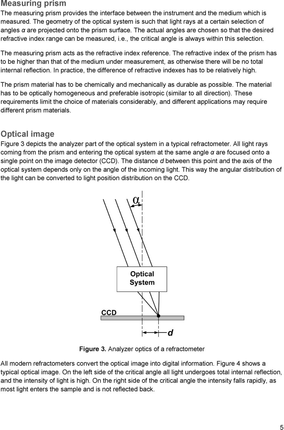 The actual angles are chosen so that the desired refractive index range can be measured, i.e., the critical angle is always within this selection.