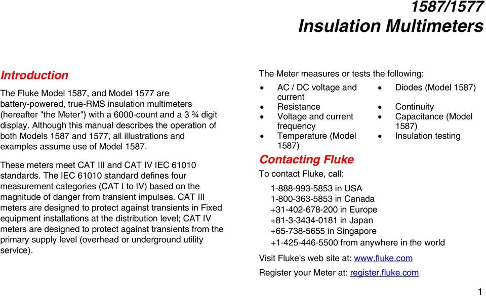 1587/1577  Insulation Multimeters  Users Manual - PDF
