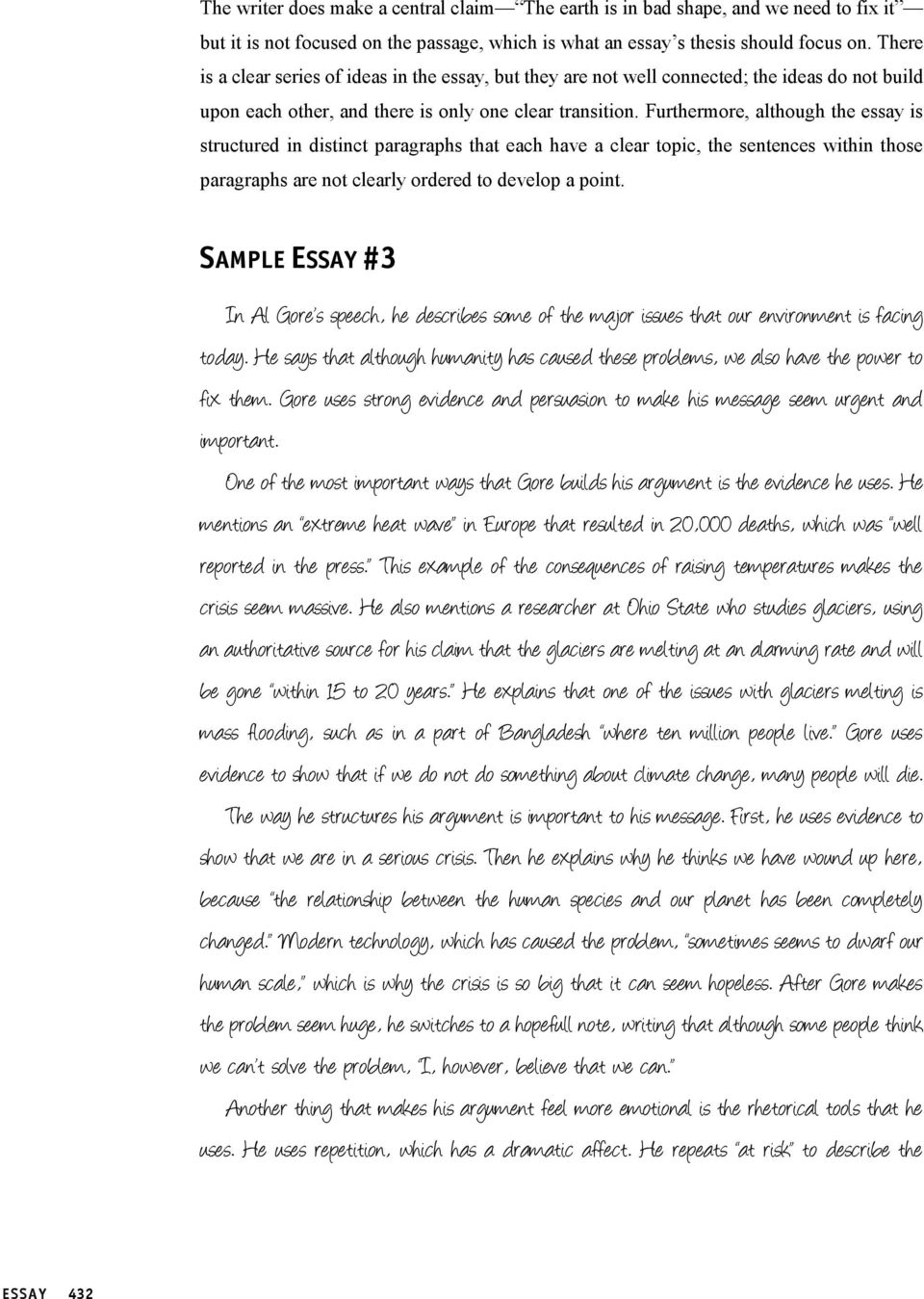 Sample Essays Part  Essay Prompt  Pdf Furthermore Although The Essay Is Structured In Distinct Paragraphs That  Each Have A Clear Topic
