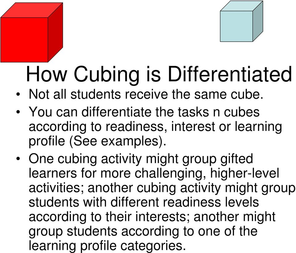 How Cubing Is Differentiated Not All Students Receive The Same Cube