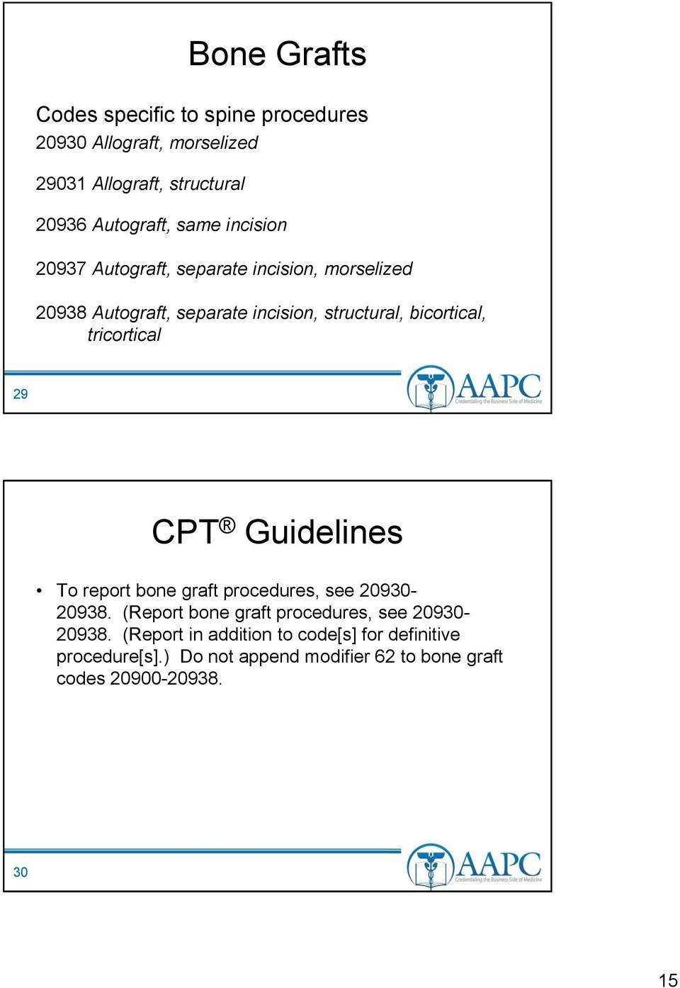 tricortical 29 CPT Guidelines To report bone graft procedures, see 20930-20938.